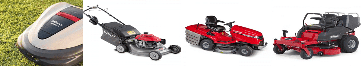 Selection of Lawn mowers - robotic, self propelled, tractor ride on lawn mower and professional lawn mower
